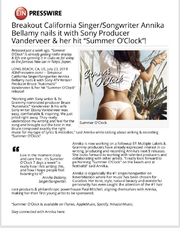 Singer/Songwriter Annika Bellamy nails it …